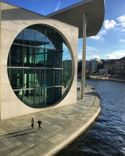 Architecture Building Exterior Built Structure Reflection City Day Water Outdoors Sky People Modern Architecture Berlin