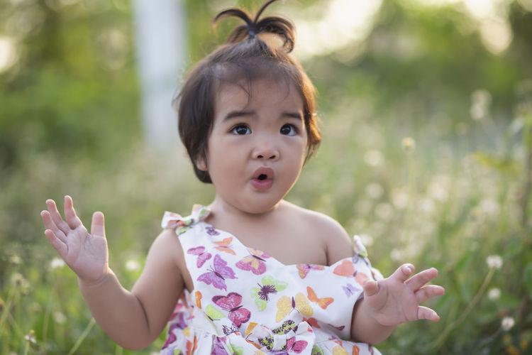 Portrait of cute girl in park