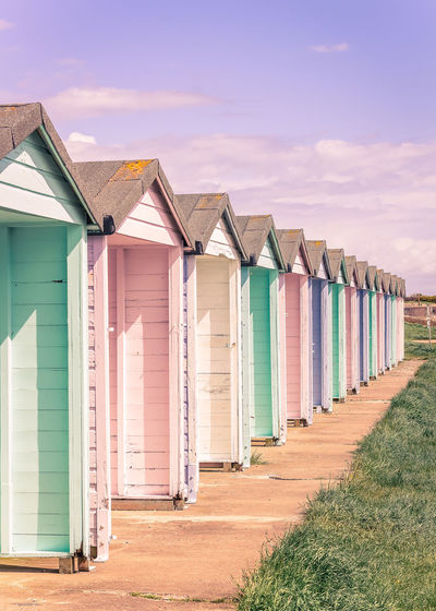 Portsmouth Architecture Beach Beach Hut Building Building Exterior Built Structure Cabin Cloud - Sky Day Grass Hut In A Row Land Multi Colored Nature No People Outdoors Sand Sea Side By Side Sky Southsea