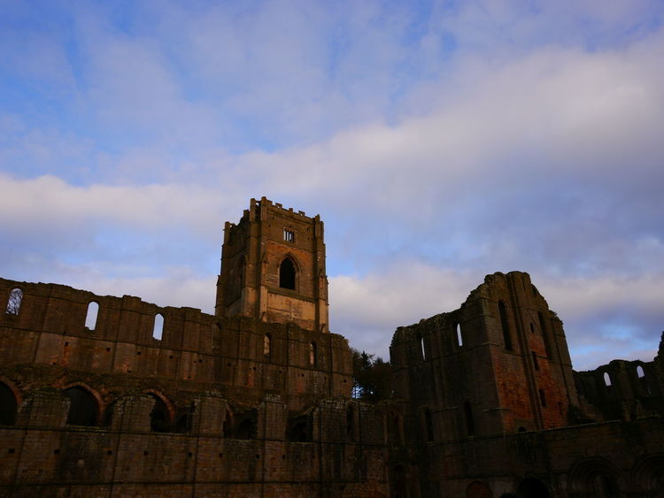 Ancient Ancient Civilization Architecture Building Exterior Built Structure Cloud - Sky Day December December 2016 Fountains Abbey Fountains Abbey Yorkshire Fountains Abbey, Yorkshire History Low Angle View No People Old Ruin Outdoors Sky The Past Travel Destinations