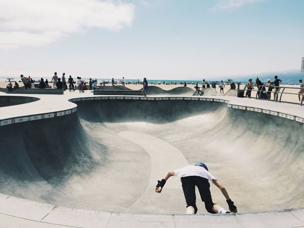 Venice Beach Adult Architecture Bridge - Man Made Structure Built Structure Day Full Length Leisure Activity Lifestyles Men Nature Outdoors People Real People Skateboard Park Skill  Sky Sport Sports Ramp Standing Venice Skatepark Water California Dreamin