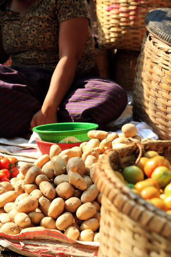 View of vegetables for sale at market stall