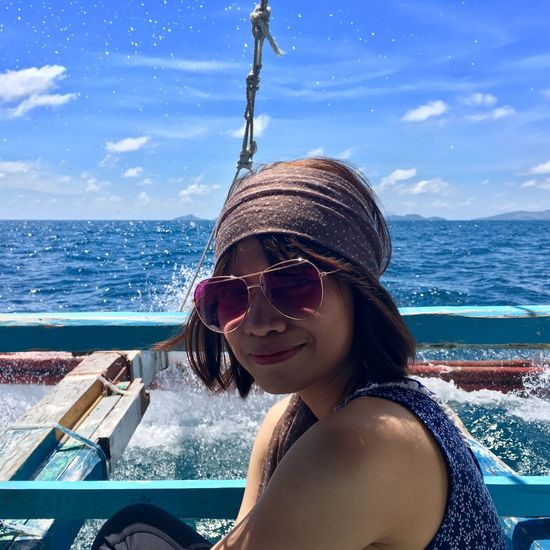 Freshest! #Splash #islandhopping #Boattrip Water Real People Portrait One Person Headshot Lifestyles Sea Leisure Activity Young Women Sunglasses Sky Smiling Outdoors