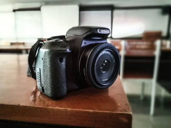 I love my CameraPhotography Themes Lens - Optical Instrument Cannon600d 24mm F2.8 Vignette Camera Close-up Camera - Photographic Equipment Modern Technology SLR Camera Digital Single-lens Reflex Camera Old-fashioned No People Indoors  Day RoyalThaiNavy Close Up Technology EyeEmNewHere