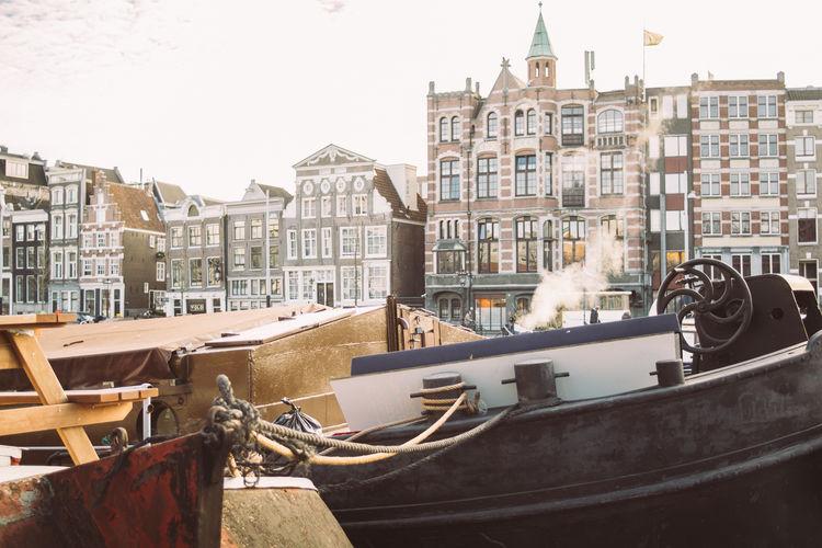 Boat Vessel Nautical Vessel City Amsterdam Closeup Smoke Cold Netherlands
