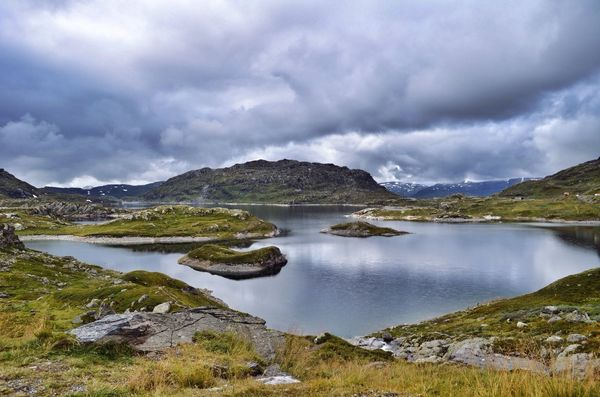Norway Mountains Lake Mountain Lake Nature Landscape Rocks Clouds Water Grass Landscape_Collection Photography Nature Photography Beautiful Nature