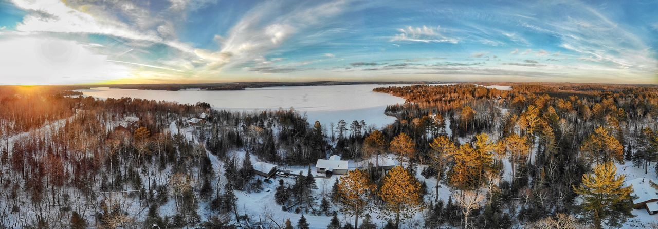 Winter Wonderland Dronephotography Birds Eye View Photography Minnesota Sky Cloud - Sky Beauty In Nature Scenics - Nature Tranquility Nature Water Tranquil Scene No People Sunlight Outdoors