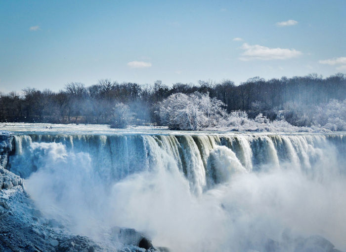 Niagara Falls in Winter, captured from the Canadian Site Niagara Niagara Falls Canada Shades Of Winter Snow And Ice  Winter Frozen Nature Frozen Waterfall Spray Water Waterfalls Wintermood