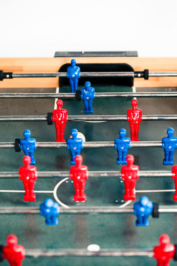 Table football game sport competition two competitors players on field. Closeup of players Game Players Football Soccer Toy Competition Match Fun Leisure Funny Playing Play Sport Enjoyment Teenager Team Joy Compete Teamwork Ball Team Sport Leisure Games Figurine  Field Representation