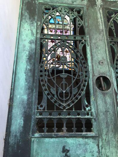 Magnolia Cemetary Stained Glass Window Iron Work