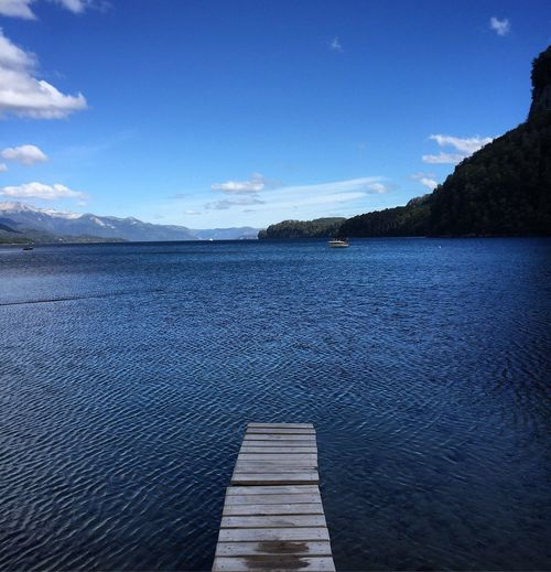 Beauty In Nature Blue Cloud - Sky Day Idyllic Lake Long Mountain Nature No People Non-urban Scene Outdoors Pier Scenics - Nature Sky Tranquil Scene Tranquility Water Waterfront