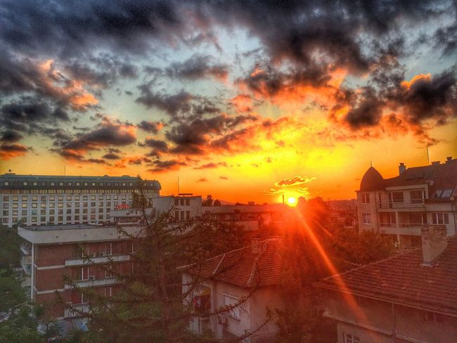 Sofia, Bulgaria Sunset Cityscapes Buildings Clouds And Sky