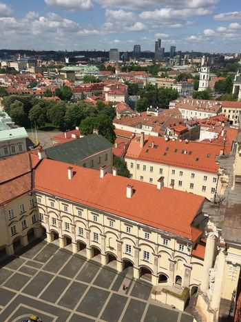 Amazing Vilnius Old town with its incredible colorful roof tops in Lithuania. Architecture Baltic States Building Exterior Built Structure Cat City Cityscape Day Destination Elevated View Landscape No People Old Town Outdoors Red Residential Building Residential District Residential Structure Roof Roof Top Sky Taking Photos Town Travel Vintage
