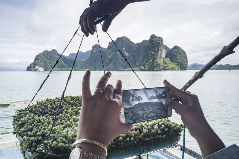 Tourist hand using a mobile phone to take pictures of seaweed, in ao luek, krabi, thailand