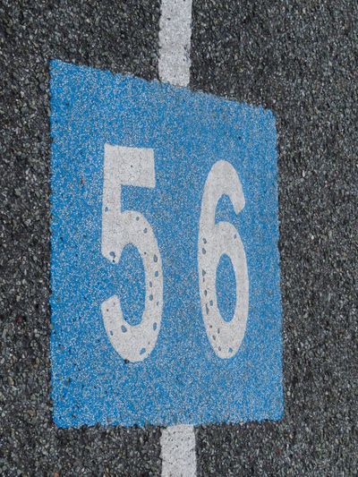 High angle view of number on road