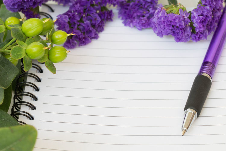 Close-Up Of Purple Flowers On Blank Diary