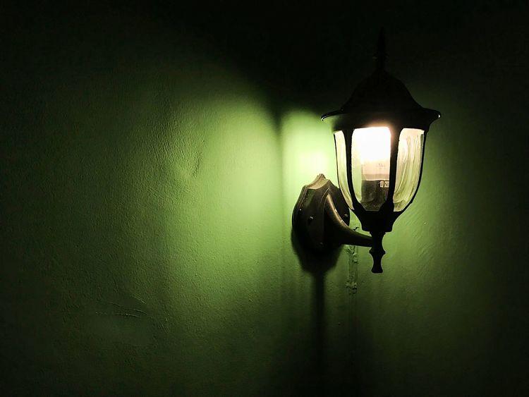 Wall light Shining light, warm color Green Close-up Electricity  Hanging Illuminated Indoors  Light Bulb Lighting Equipment Night No People Shadow Shining Light Wall Light Warm Colors