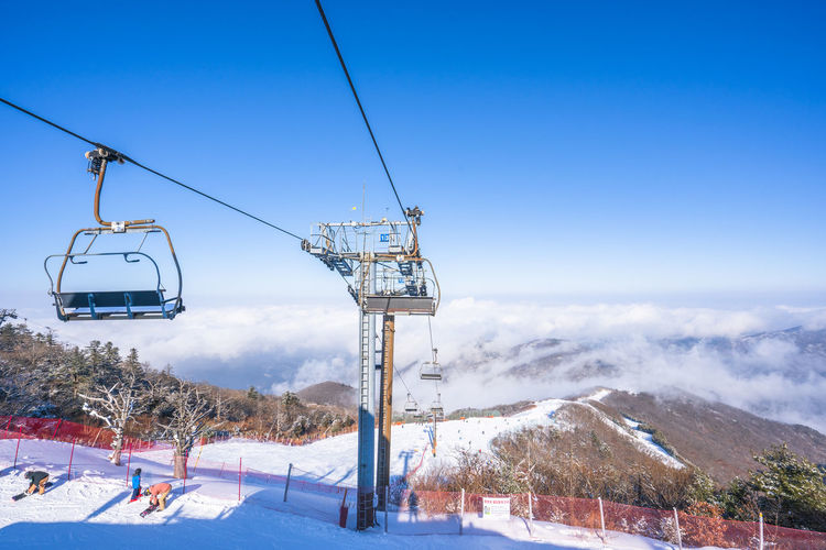 Winter of Deogyusan mountain at Muju Ski Resort in South Korea. Snow Cold Temperature Winter Cable Car Ski Lift Mountain Sky Nature Overhead Cable Car Beauty In Nature Scenics - Nature Day Landscape Cable Transportation Environment Land Mountain Range Travel Snowcapped Mountain No People Outdoors Electricity  Ski Resort