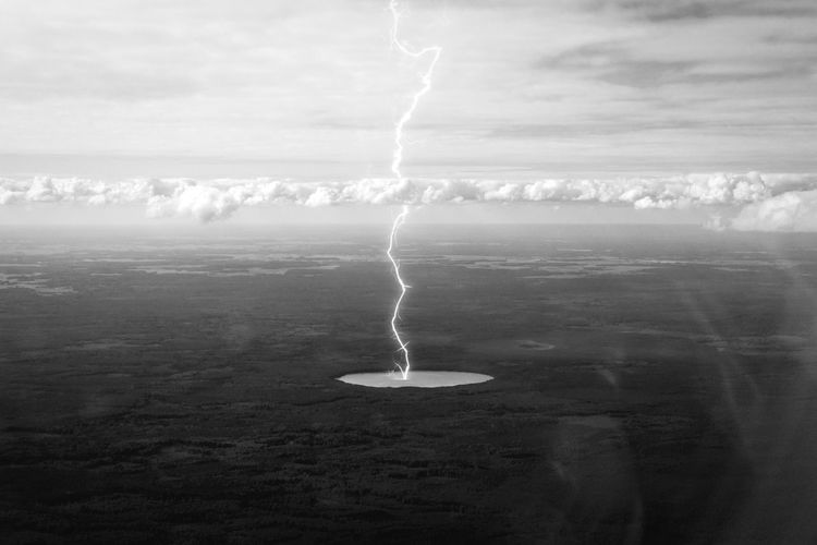 Eureka! Black And White Lightning Bolt Clouds Atmosphere Lake Nature Landscape Panorama Fiction Fantasy Photo Manipulation Linas Was Here A New Perspective On Life