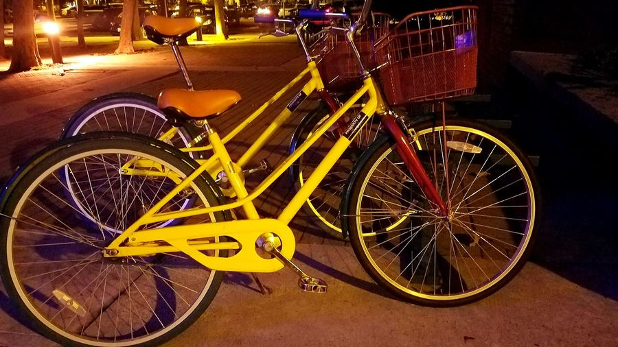 Bicycle Mode Of Transport Land Vehicle Wheel Night No People Transportation Outdoors Paint The Town Yellow