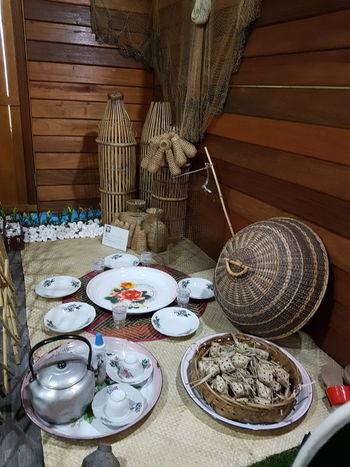 Sekinchan, Malaysia . Paddy Factory Display Plate Table Indoors  No People Day