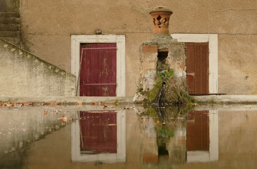 Abandoned Architecture Closed Colors Door Entrance Eye4photography  EyeEm Best Edits EyeEm Best Shots EyeEm Gallery EyeEmBestPics Eyeemphotography Fifty House Old Outdoors Photography Photooftheday Reflection Reflection_collection Shutter Wall Water Water Reflections