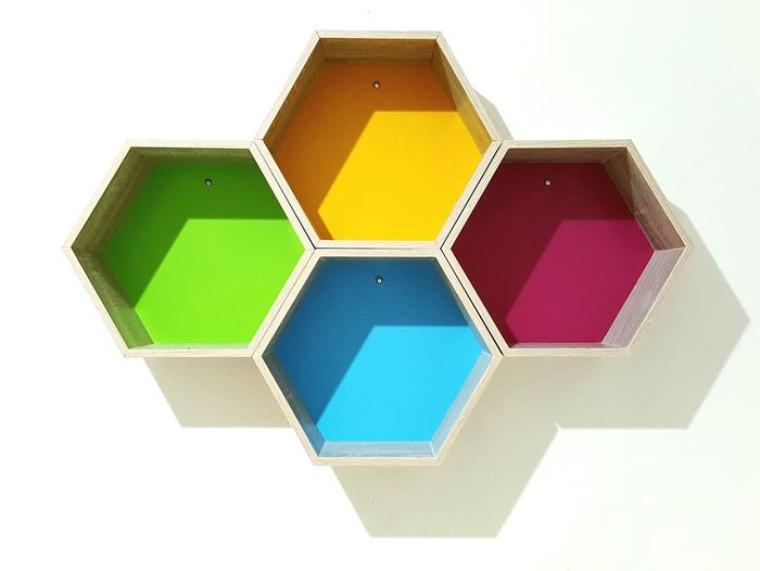 First Eyeem Photo Wall Art Decor Decoration Shelf Colors Colorful Geometry Geometric Shapes Geometric Design Pentagon Geometry Pattern Geometric Structures Geometric Shape Yellow Magenta Green Blue Interior Design Wood Simple Neat Aesthetically Pleasing Aesthetics Aesthetic