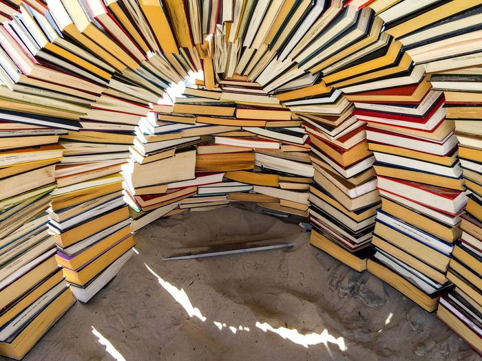 Book Sculpture March 12,2016 Cottesloe Beach Western Australia Sculptures Beach Sand Arts Festivals Arts ArtWork Culture Arts And Entertainment Books Book Sculpture Igloo Shelter Stacked Pile Literature Sculptures By The Sea Abstract Abstract Art