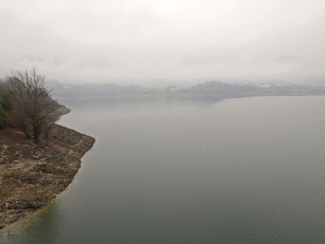 Fog Hazy  Idyllic Lago Del Turano Lake Landscape Mist Scenics Tranquil Scene Tranquility