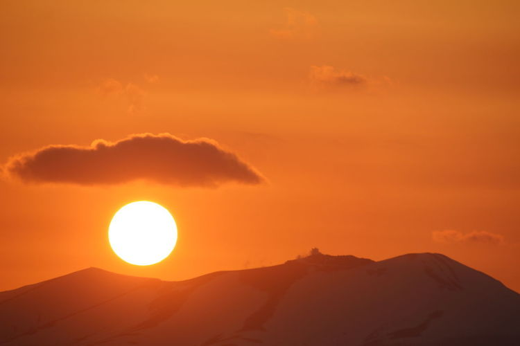 Mt Tarumae Mountain Sunset Desert Beauty Sun Sunlight Dramatic Sky Orange Color Environment Sky