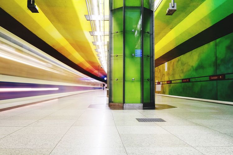 Architecture Transportation Built Structure Illuminated Indoors  The Way Forward No People Yellow Subway Station Day Underground Munich Colors Colorful