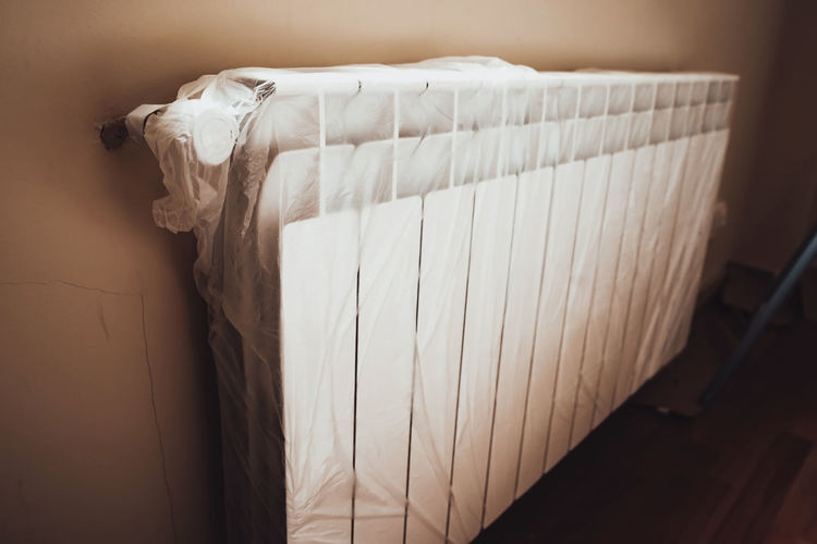 High angle view of curtain at home