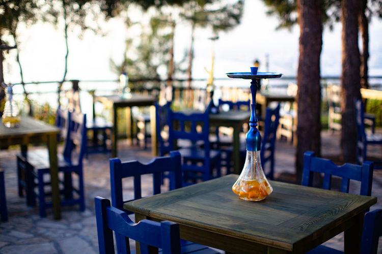 Hookah on table at restaurant