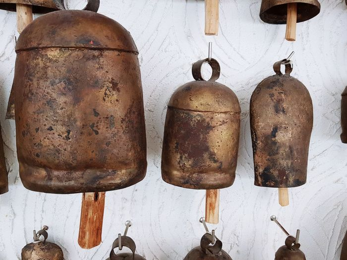 Rustic, traditional bell collection Bells Traditional India No People Indoors  Day