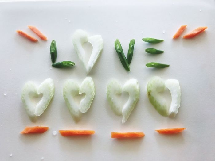 Green Color Food And Drink Vegetable Freshness Healthy Eating Food No People In A Row Indoors  Close-up Green Bean White Background Text Love Happy Valentines Day ❤ Valentine's Day  Heart Carrots Celery Produce Ingredients Cooking At Home Kitchen Yummy In My Tummy Hungry Much