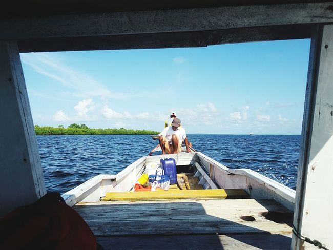 Real traveller after eat on boat Eat On Boat Beautiful Sky Beautiful Nature Leisure Activity Two People Sky Blue Water