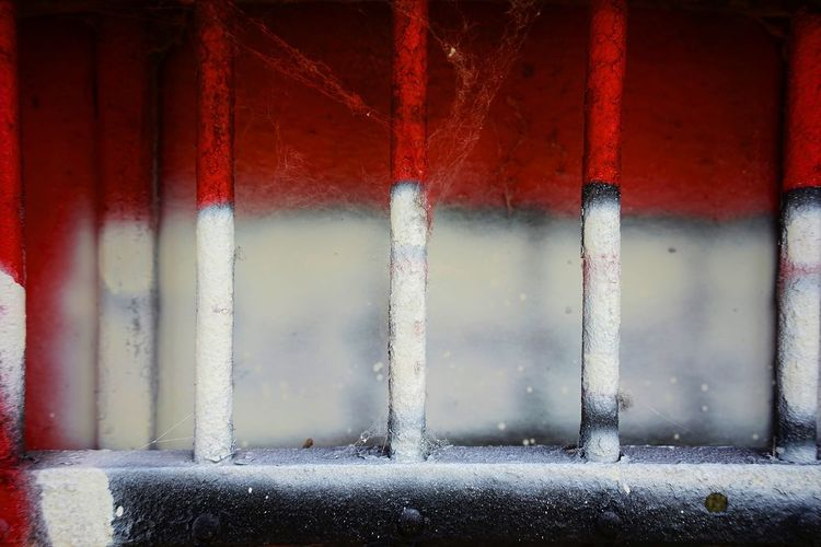 Bars Graffiti Art Red Window No People Built Structure Architecture Day Close-up Pattern Wall - Building Feature Full Frame Security Building Textured  Protection Window Frame