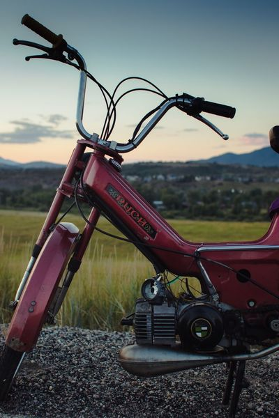 Transportation Day No People Field Land Vehicle Outdoors Landscape Sky Stationary Close-up Grass Nature Tree Moped Puch