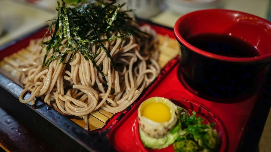 High angle view of soba noodles in plate