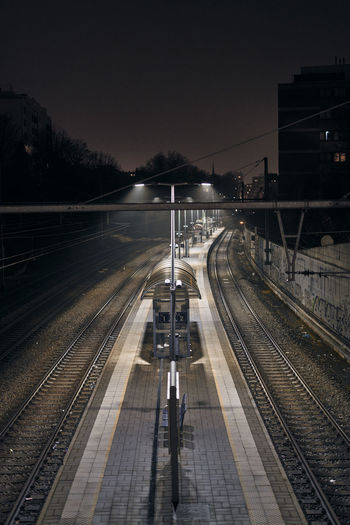 High angle view of  train station at night