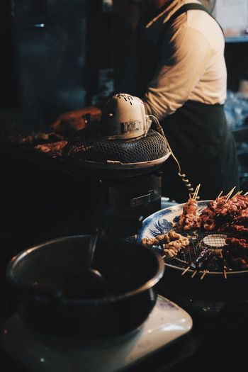 Close-up of preparing food on table