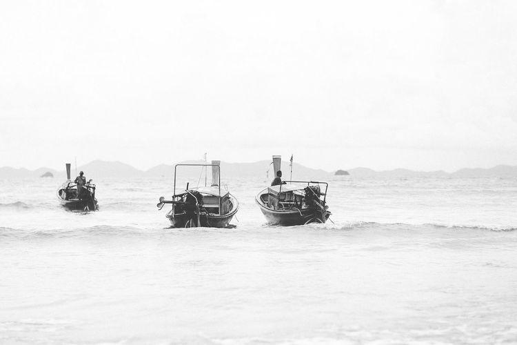 Longtail boats at Raileh Beach, Ao Nang. Transportation Longtailboat Thailand AoNang Water Boat