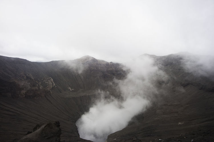 Smoke Coming Out Of Volcanic Mountain