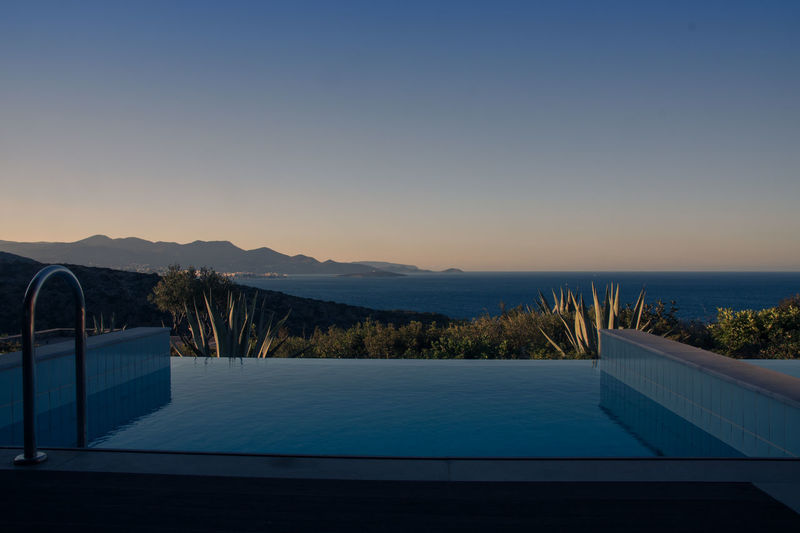 Architecture Blue Colored Blue Colored Photos Blue Sky Calm Water Day Dusk Colours Landscape Modern Mountain No People Outdoors Private Pool With Sea View Scenics Sea Sea View Smooth Water Swimming Pool Tranquil Scene Tranquility Water