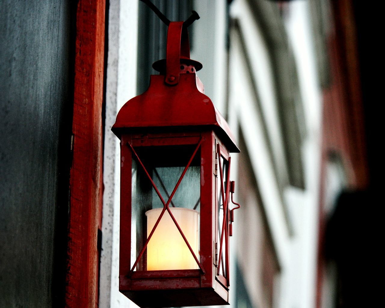 Low Angle View Of Red Lit Lantern