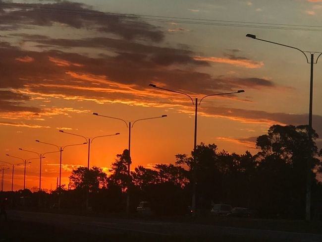 Sunset down the road Sunset Sky Orange Color Tree Cloud - Sky Silhouette Plant Beauty In Nature Nature Street Electricity  No People Power Line  Electricity Pylon Technology Cable Scenics - Nature Outdoors Fuel And Power Generation Street Light
