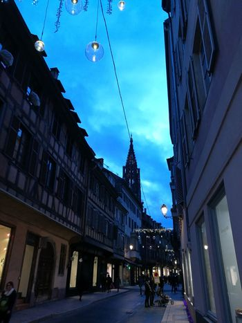 Sky Sky And City Ciel Ciel Bleu Soirée Soir Evening Evening Sky Evening Light Lumière Du Soir Rue Street Streetphotography Street Photography Street Light Ville City City Street Strasbourg Straßenfotografie Cathedral Cathedrale Cathédrale De Strasbourg Mobility In Mega Cities Adventures In The City The Street Photographer - 2018 EyeEm Awards