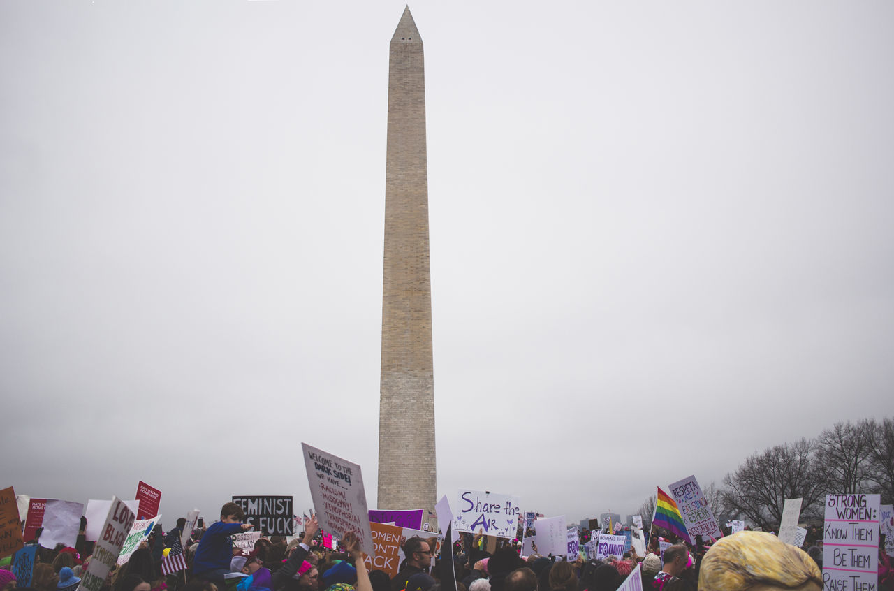 large group of people, real people, men, flag, sky, outdoors, crowd, day, patriotism, lifestyles, protestor, women, city, architecture, people, adult