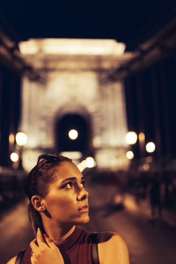 Summer nights Bridge Brunette Budapest Chainbridge EyeEm Best Shots Facial Expression Focus On Foreground Headshot Human Face Illuminated Leisure Activity Lifestyles Light And Shadow Modeling Night Nightphotography Smiling TeamCanon Young Adult Young Women People And Places