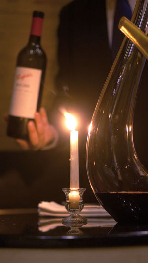 Candle Dinner Fine Dining Cuisine Holding Holding Wine Bottle] Waiter Wine Wine Pairing